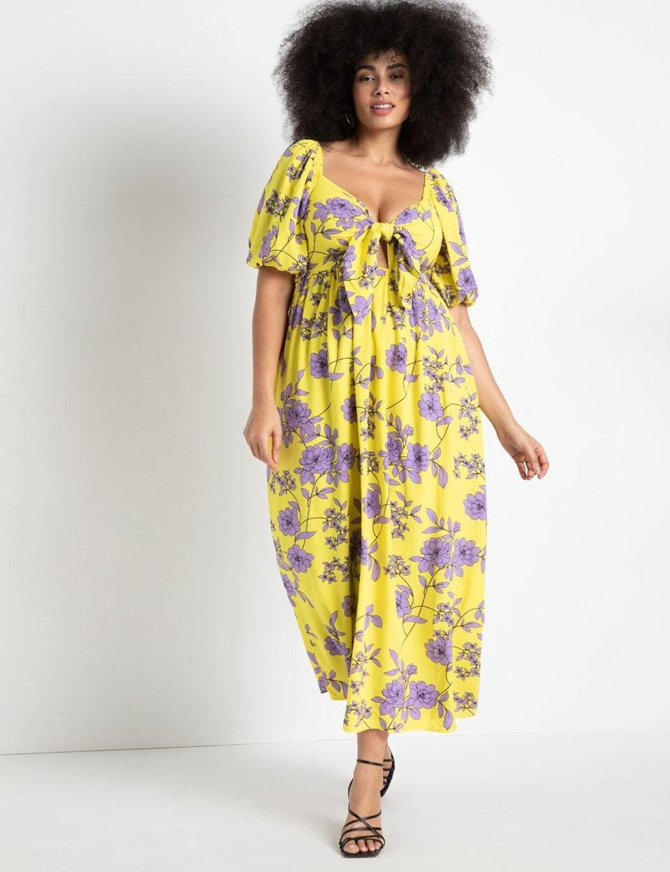 <p>This <span>ELOQUII Tie Front Full Skirted Maxi Dress</span> ($140) makes us want to go on a tropical vacation. Anyone else?</p>