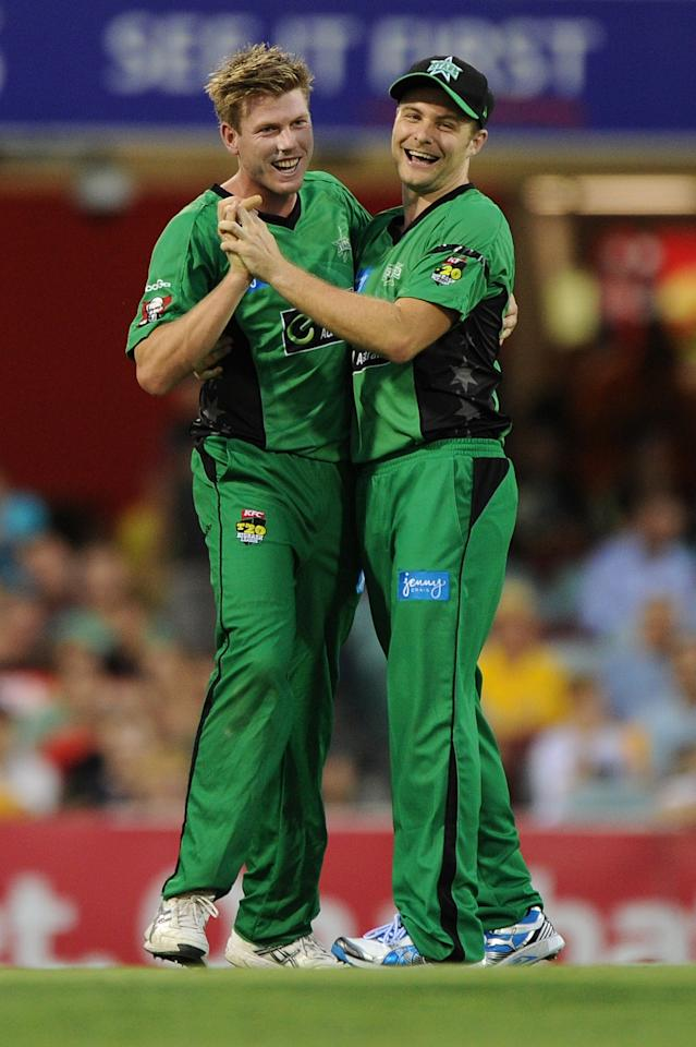 BRISBANE, AUSTRALIA - JANUARY 03:  James Faulkner and Luke Wright of the Stars celebrate a wicket during the Big Bash League match between the Brisbane Heat and the Melbourne Stars at The Gabba on January 3, 2013 in Brisbane, Australia.  (Photo by Matt Roberts/Getty Images)