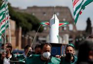 FILE PHOTO: Alitalia workers protest against Italy-EU negotiations