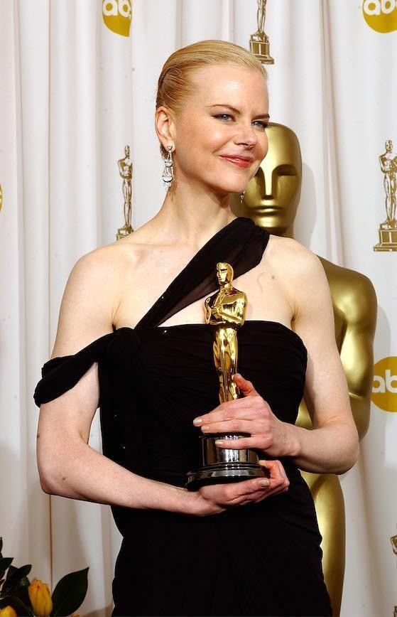 Clutching her Oscar for best actress in 2003. She was wearing a Christian Dior by John Galliano dress when she picked up her trophy for her turn in The Hours as Virginia Woolf.