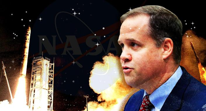 NASA administrator Jim Bridenstine vows to leave politics in the past as he leads the agency toward returning to the moon and eventually traveling to Mars. (Photo illustration: Yahoo News; photos: AP, NASA)