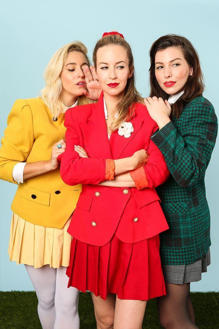 """<p>Sure, you could go as the now-legendary <em>Mean Girls </em>trio, but don't forget the original three-person girl group: <em>Heathers</em>! Shoulder pads and pleated skirts are optional; smirks are mandatory.</p><p><strong>Get the tutorial at <a href=""""http://keikolynn.com/2016/10/heathers-group-costume-for-halloween/"""" rel=""""nofollow noopener"""" target=""""_blank"""" data-ylk=""""slk:Keiko Lynn"""" class=""""link rapid-noclick-resp"""">Keiko Lynn</a>.</strong></p><p><a class=""""link rapid-noclick-resp"""" href=""""https://go.redirectingat.com?id=74968X1596630&url=https%3A%2F%2Fwww.walmart.com%2Fsearch%2F%3Fquery%3Dblazers&sref=https%3A%2F%2Fwww.thepioneerwoman.com%2Fhome-lifestyle%2Fcrafts-diy%2Fg37066817%2Fhalloween-costumes-for-3-people%2F"""" rel=""""nofollow noopener"""" target=""""_blank"""" data-ylk=""""slk:SHOP BLAZERS""""><strong>SHOP BLAZERS</strong></a></p>"""