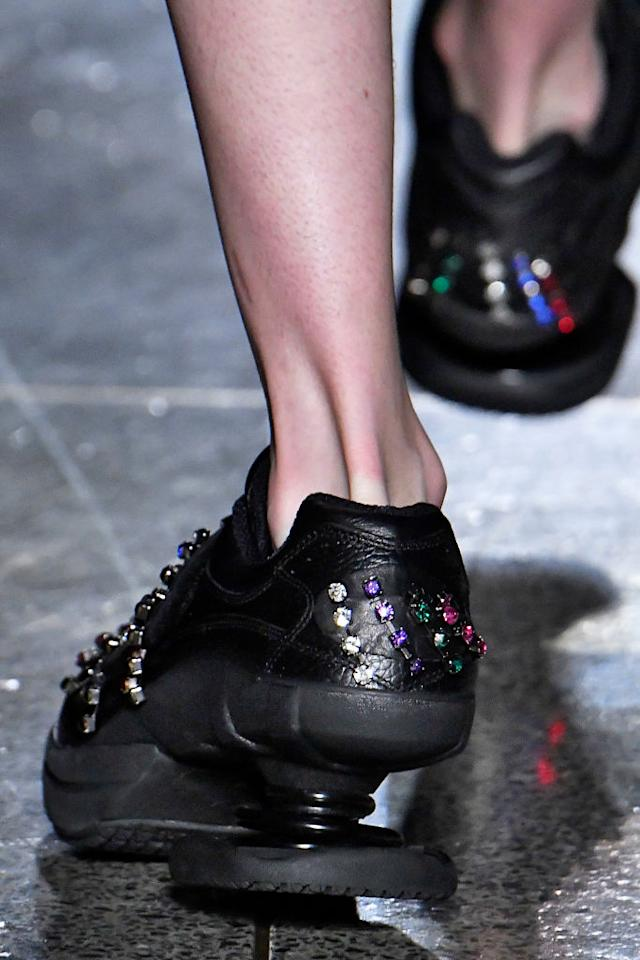 <p>Bedazzled details from Kane's new shoe partnership with Z-Coil. (Photo: Getty Images) </p>