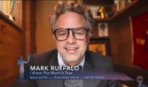 "In this video grab provided by the SAG Awards, Mark Ruffalo accepts the award for outstanding performance by a male actor in a television movie or limited series for ""I Know This Much Is True"" during the 27th annual Screen Actors Guild Awards on April 4, 2021. (SAG Awards via AP)"