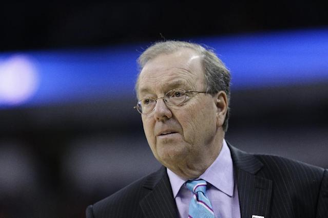 Coastal Carolina head coach Cliff Ellis watches play against Virginia during the first half of an NCAA college basketball second-round tournament game, Friday, March 21, 2014, in Raleigh. (AP Photo/Gerry Broome)