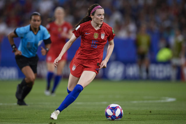 Rose Lavelle of USA in action during the 2019 FIFA Women's World Cup France Semi Final match between England and USA at Stade de Lyon on July 02, 2019 in Lyon, France. (Photo by Quality Sport Images/Getty Images)