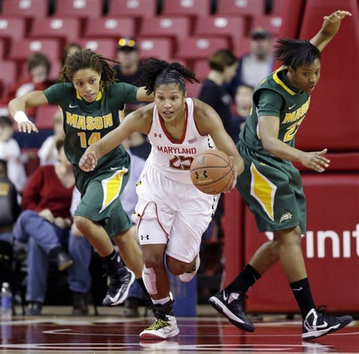 Maryland forward Alyssa Thomas, center, drives past George Mason guards Melissa Collier, left, and Cierra Strickland after rebounding the ball in the second half of an NCAA college basketball game in College Park, Md., Saturday, Dec. 8, 2012. Thomas earned a triple double in Maryland's 90-40 win. (AP Photo/Patrick Semansky)