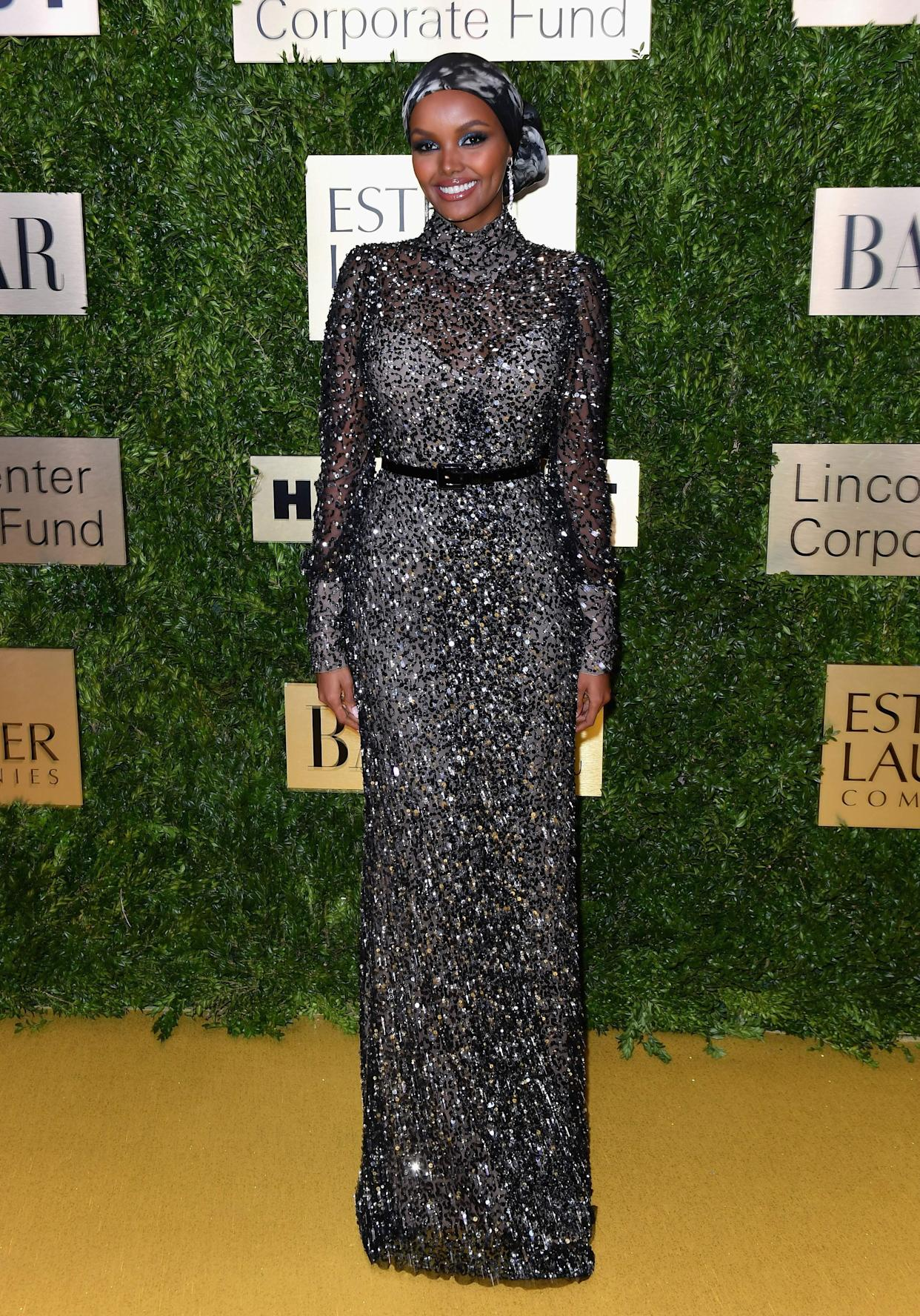 Halima Aden at the Lincoln Center corporate fund fashion gala in New York on Nov. 18.