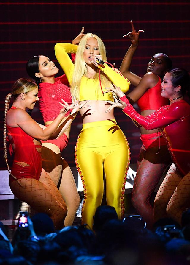 <p>The rapper dared to bare during her performance at the 2017 iHeartRADIO MuchMusic Video Awards in Toronto. Joe Jonas, the show's host, as well as Lorde, Niall Horan, and more also took to the stage. (Photo: GP Images/Getty Images) </p>
