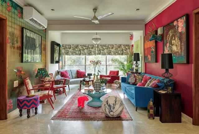 Every room within the home has at least two dominant colours, while prints run amok on soft furnishings and art alike. Mehta encourages experimenting; mixing and matching. In naturally well-lit spaces like this living room, dark colours work. In spaces that aren't as blessed by the sun, he advises a mix of light colours.
