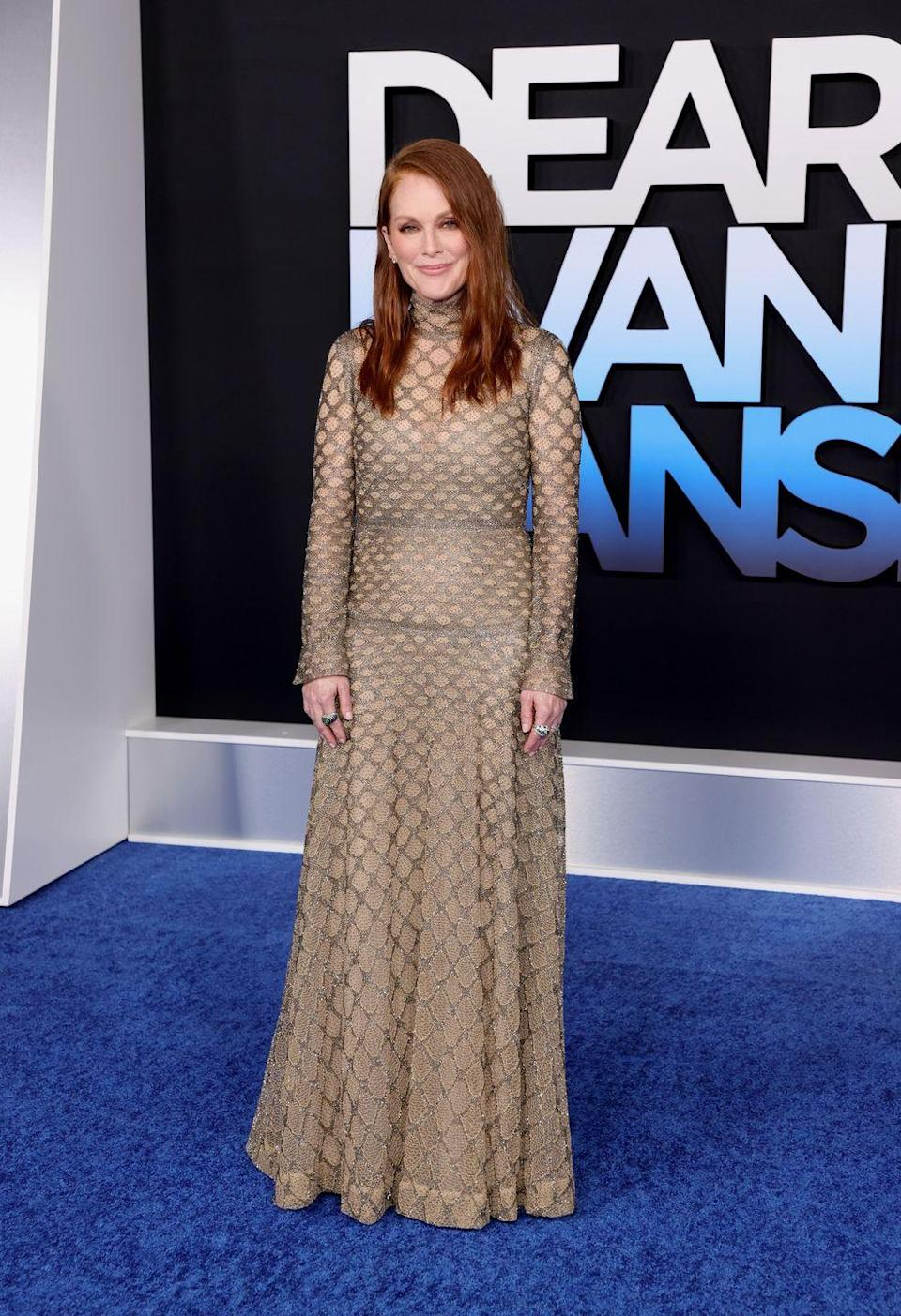 <p><strong>22 September</strong></p><p>Julianne Moore wore a shimmering metallic mesh dress by Valentino to the premiere of Dear Evan Hansen in LA.</p>