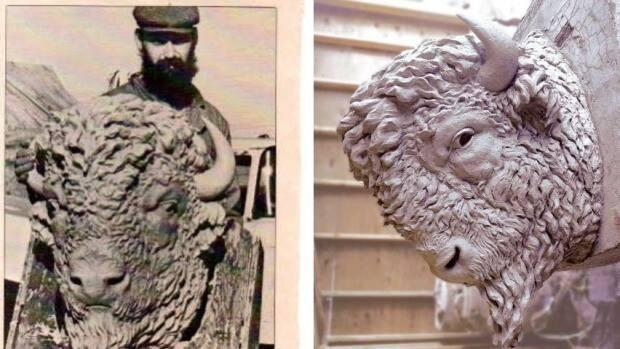 Al Stinson only received one piece of public credit in Calgary media in the 1980s for his work sculpting new bison heads for the city's Centre Street Bridge, in an article from now-defunct Alberta Report magazine, pictured on the left. Now that his sculptures, pictured in 2020 on the right, are up for auction, he's correcting the record.  (Submitted by Al Stinson, Levis Online Auctions - image credit)