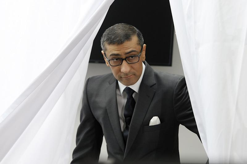 New President and Chief Executive Officer of Nokia Rajeev Suri attends the press conference where Nokia announced first quarter earnings in Espoo, Finland Tuesday, April 29, 2014. (AP Photo/Lehtikuva, Heikki Saukkomaa) FINLAND OUT, NO SALES