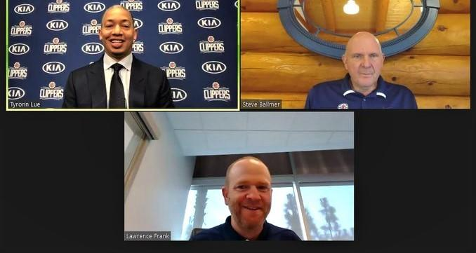The Clippers introduced new coach Tyronn Lue during a videoconference with owner Steve Ballmer and Lawrence Frank.