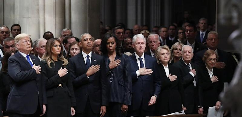 From left, President Donald Trump, first lady Melania Trump, former President Barack Obama, former first lady Michelle Obama, former President Bill Clinton, former Secretary of State Hillary Clinton, and former President Jimmy Carter and former first lady Rosalynn Carter participate in the State Funeral for former President George H.W. Bush, at the National Cathedral, Wednesday, Dec. 5, 2018 in Washington.