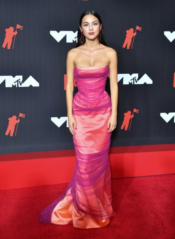 Pop artist Olivia Rodrigo arrives for the 2021 MTV Video Music Awards at Barclays Center in Brooklyn, where she scored several awards including Best New Artist (AFP/ANGELA WEISS)