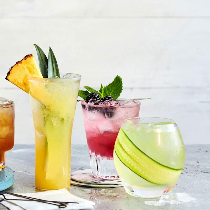 """<p><strong>Recipe: <a href=""""https://www.southernliving.com/recipes/blackberry-mint-sparkler"""" rel=""""nofollow noopener"""" target=""""_blank"""" data-ylk=""""slk:Blackberry-Mint Sparkler"""" class=""""link rapid-noclick-resp"""">Blackberry-Mint Sparkler</a></strong></p> <p>Make the most of fresh blackberries and mint in this fruity, fizzy cocktail. <br><strong><br></strong></p>"""