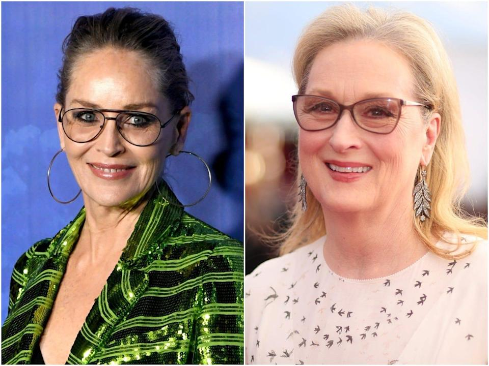 A split picture of Sharon Stone and Meryl Streep.