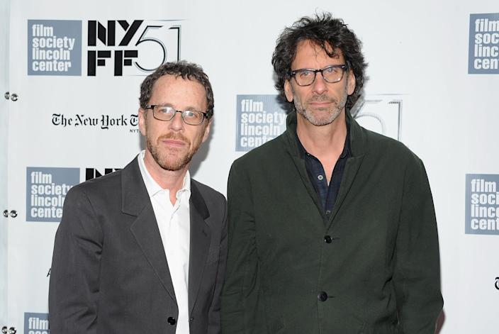 """FILE - This Sept. 28, 2013 file photo shows directors Joel Coen, right, and Ethan Coen at the premiere of """"Inside Llewyn Davis"""" during the 51st New York Film Festival in New York. (Photo by Evan Agostini/Invision/AP, File)"""