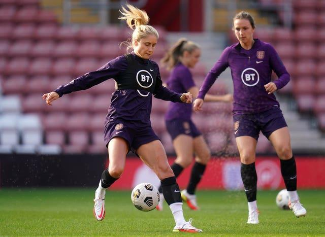 Wiegman was joined at Thursday's press conference by England captain Steph Houghton (Andrew Matthews/PA).