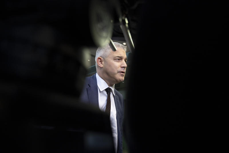 United Kingdom Brexit negotiator Stephen Barclay speaks with the media as he arrives for a meeting of EU General Affairs Council at the European Convention Center in Luxembourg, Tuesday, Oct. 15, 2019. European Union chief Brexit negotiator Michel Barnier briefed ministers Tuesday on the state of play of Brexit. (AP Photo/Virginia Mayo)