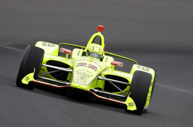 FILE - In this Saturday, May 19, 2018, file photo, Simon Pagenaud, of France, drives during a practice session for the IndyCar Indianapolis 500 auto race at Indianapolis Motor Speedway in Indianapolis. Chevrolet engines have powered some of IndyCars biggest winners over the last six years. 2016 series champ Simon Pagenaud knows Chevrolet and Honda engines well. (AP Photo/Darron Cummings, File)
