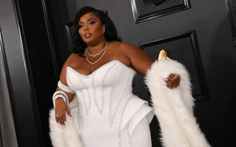 US singer-songwriter Lizzo rocks a Versace corset gown at the Grammys