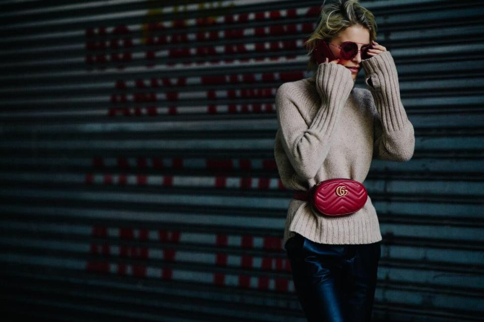 <p>In case you thought bum bags were just a passing phase, they were out in force in every single city, with Gucci's new belt bag being at the top of the list. <em>[Photo: Katz Sinding]</em> </p>