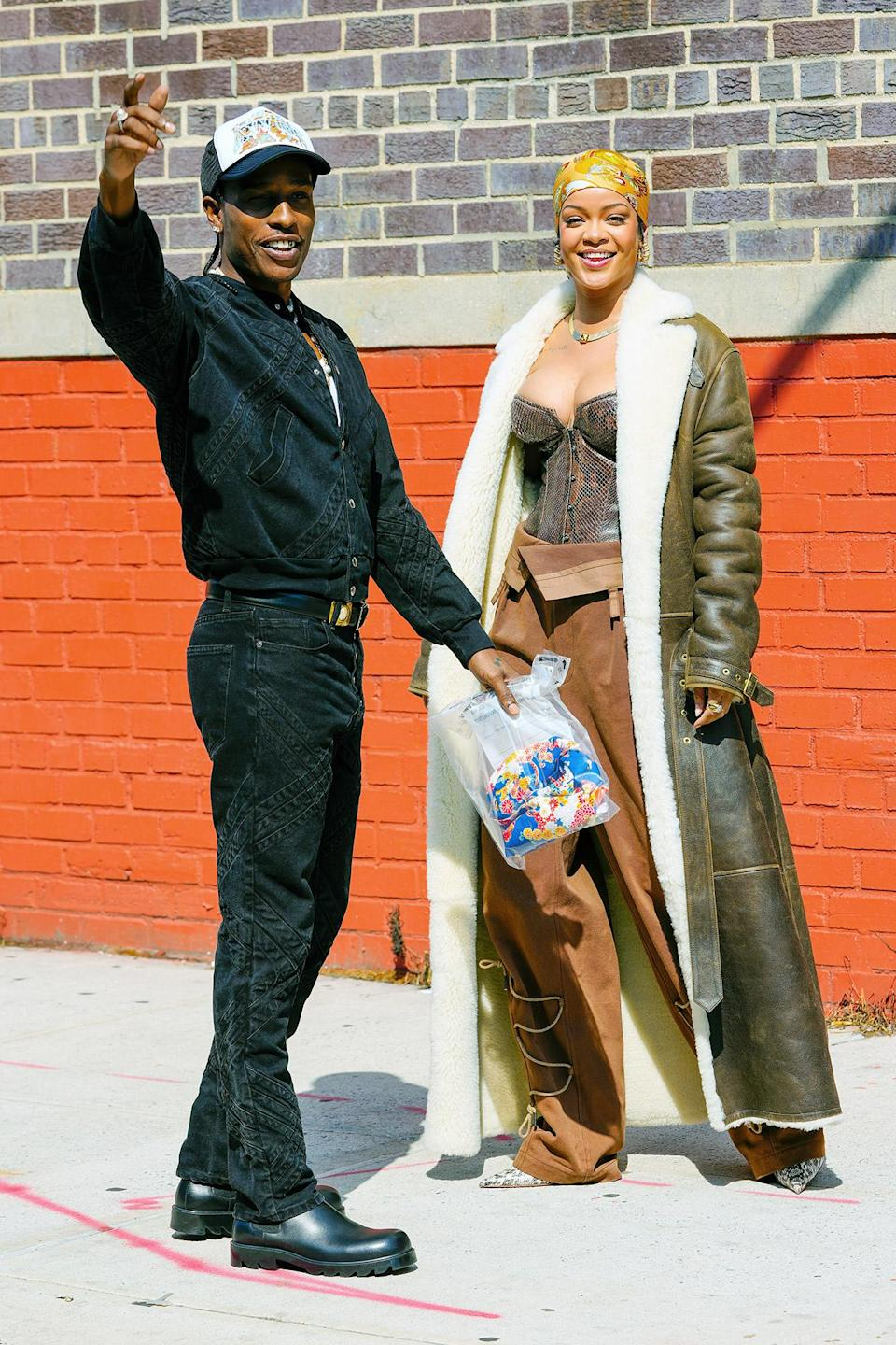<p>In their July 2021 music video shoot, the couple donned fashion-forward looks that featured mostly leather for Rihanna and a monochromatic jacket and pants set topped off with a trucker hat for Rocky. </p>