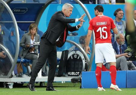Soccer Football - World Cup - Group E - Brazil vs Switzerland - Rostov Arena, Rostov-on-Don, Russia - June 17, 2018 Switzerland coach Vladimir Petkovic gives instructions to Blerim Dzemaili REUTERS/Marko Djurica
