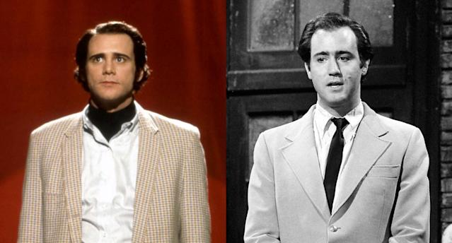 <p>To play the late comedian (and <i>Taxi</i> star) Andy Kaufman, Jim Carrey refused to break character while making Milos Foreman's 1999 <i>Man on the Moon</i> — a level of commitment that extended to his physical transformation. (Photo: Courtesy of Everett Collection/Getty Images) </p>
