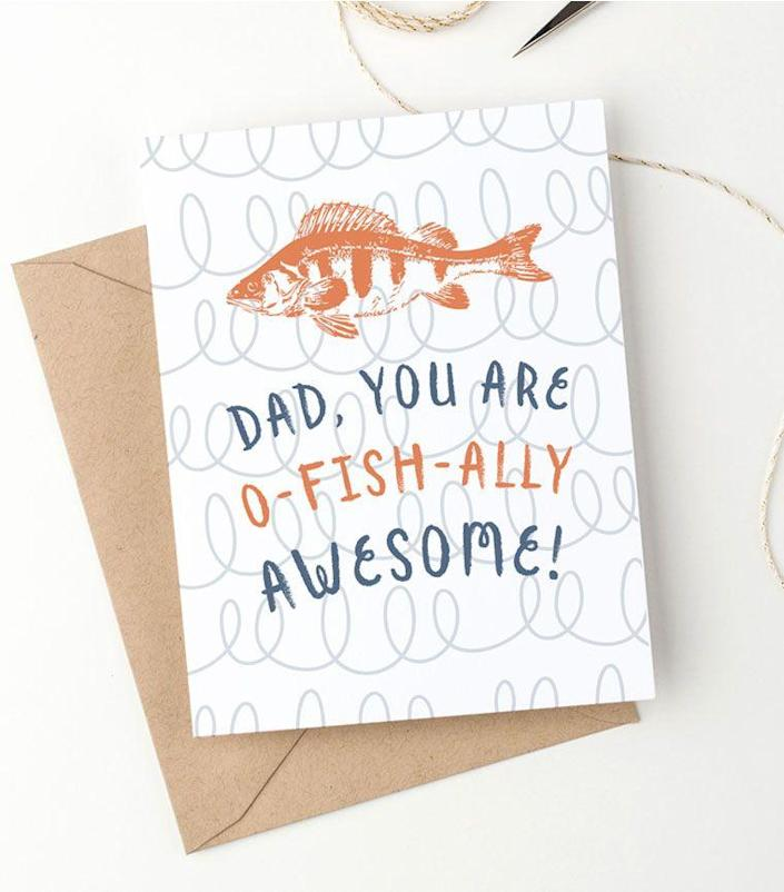 """<p>For a dad that loves fishing (and puns) this free card will show him that you care.</p><p><strong><em>Get the printable at <a href=""""https://www.clementinecreative.co.za/free-printable-funny-fathers-day-card/"""" rel=""""nofollow noopener"""" target=""""_blank"""" data-ylk=""""slk:Clementine Creative"""" class=""""link rapid-noclick-resp"""">Clementine Creative</a>.</em></strong></p>"""