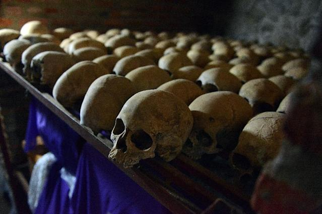 The 1994 genocide in Rwanda killed thousands, whose preserved skulls reside at the Genocide memorial in Nyamata, as 10 out of 61 convicts have been granted early release including historian Ferdinand Nahimana and priest Emmanuel Rukundo (AFP Photo/Simon Maina)
