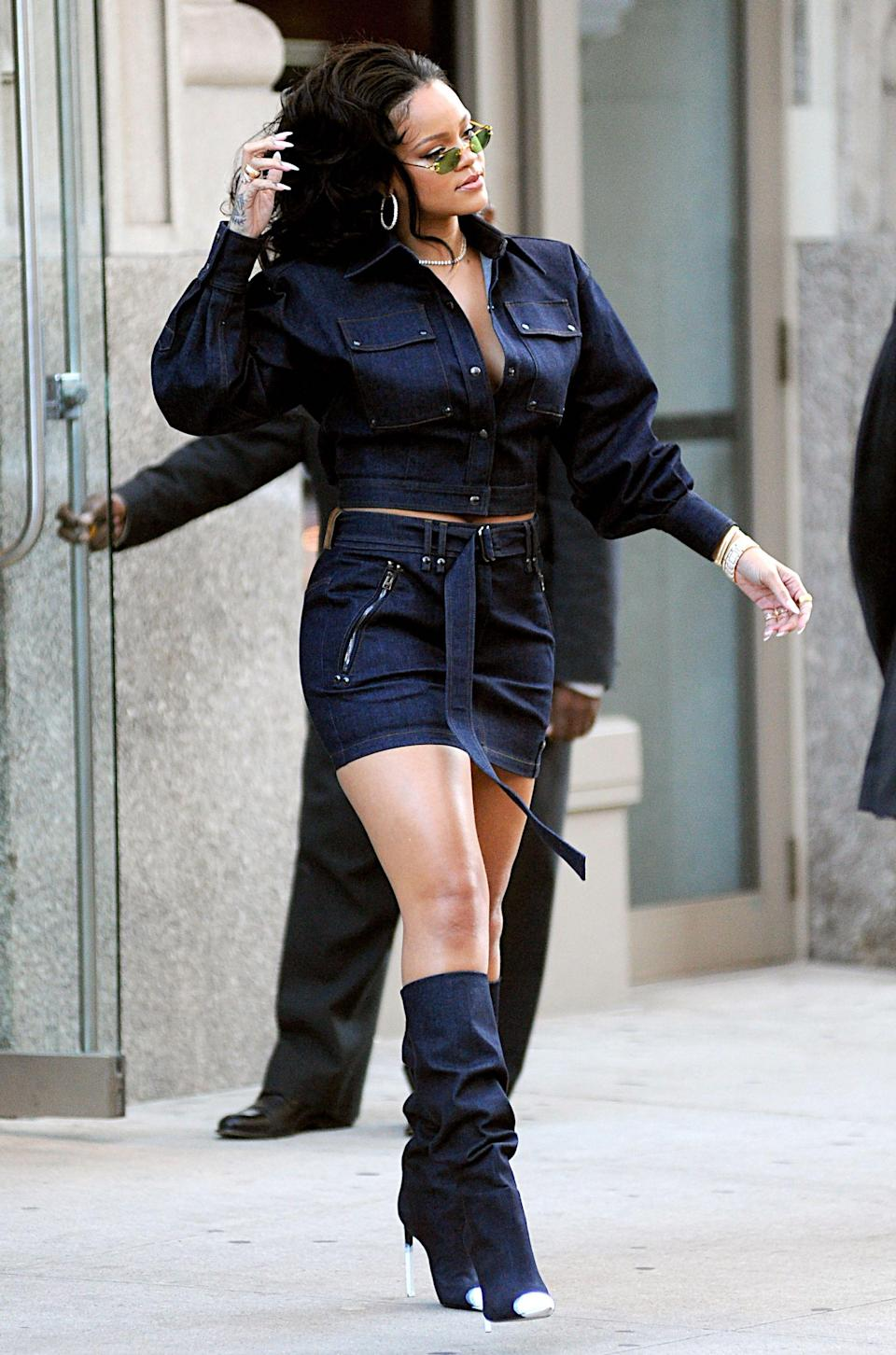 <p>Leave it to Rihanna to demonstrate the art of double denim dressing. We are here for her Tom Ford get-up and need it ASAP. Yup, boots included. <em>[Photo: Rex]</em> </p>