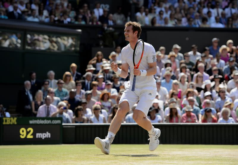 Handout image of Andy Murray of Britain playing against Novak Djokovic of Serbia in the Men's Singles Final on centre court at the 2013 Wimbledon Championships tennis tournament in London