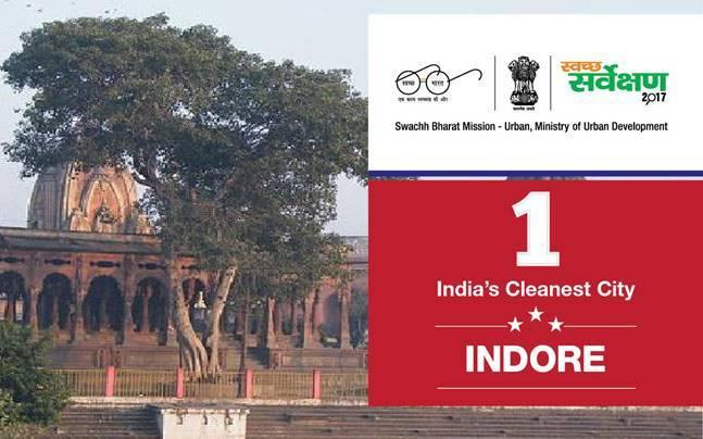 How did Indore and Bhopal improve their rankings to become cleanest cities in country