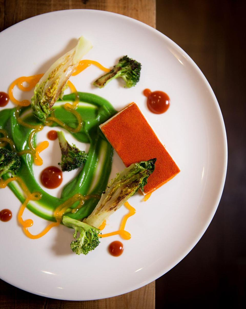 """<p>For something a little fancier, head to this upscale vegan restaurant which is perfect for a posh vegan date night. </p><p>In a beautiful, elegant setting with cream and grey walls and soft lighting, the atmosphere is perfect for a special occasion.</p><p>Dishes include celeriac profiteroles, savoury nutmeg custard and sweetcorn parfait for dessert. </p><p>If you are inspired by their incredible cuisine, they also offer vegan cookery courses.</p><p>For more info, <a href=""""https://www.vanillablack.co.uk/"""" rel=""""nofollow noopener"""" target=""""_blank"""" data-ylk=""""slk:click here"""" class=""""link rapid-noclick-resp"""">click here</a>.</p>"""