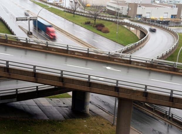The Cogswell Interchange, built in the 1960s to accommodate a planned waterfront freeway that was never built, will soon come down.  (The Canadian Press - image credit)