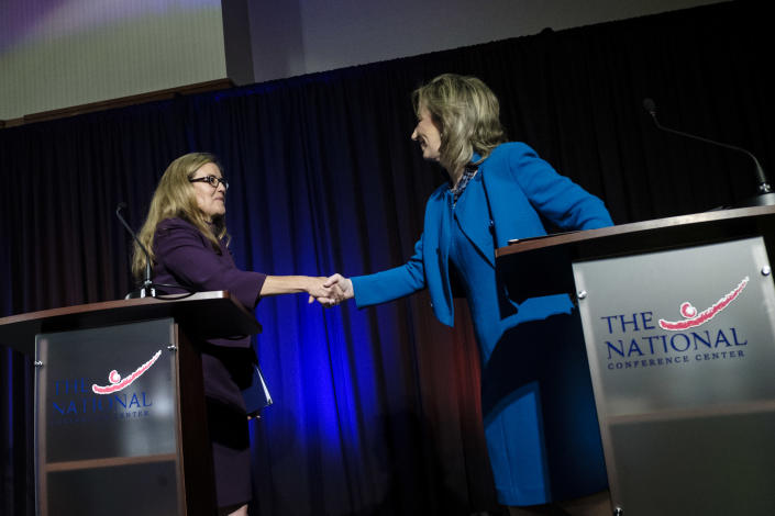 Democratic state Sen. Jennifer Wexton and incumbent Rep. Barbara Comstock, R-Va., shake hands after a debate on Sept. 21, 2018, in Leesburg, Va. (Photo: Pete Marovich for the Washington Post via Getty Images)