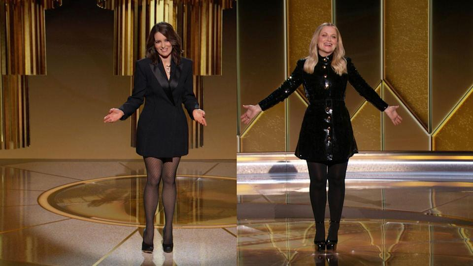 <p>The hosts of the night stepped out on opposite coasts in two looks that said they were ready to serve a little sass with their glam. The hostesses coordinated in black tights, with Tina's sharp tuxedo jacket making a perfect accompaniment to Amy's sequined minidress; two sharp, strong, sisterhood statement looks.</p>