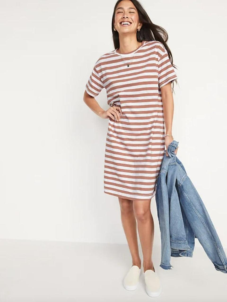 <p>Wear this <span>Vintage Striped Slub-Knit T-Shirt Shift Dress</span> ($30, originally $40) with white sneakers and a denim jacket tied around your waist.</p>