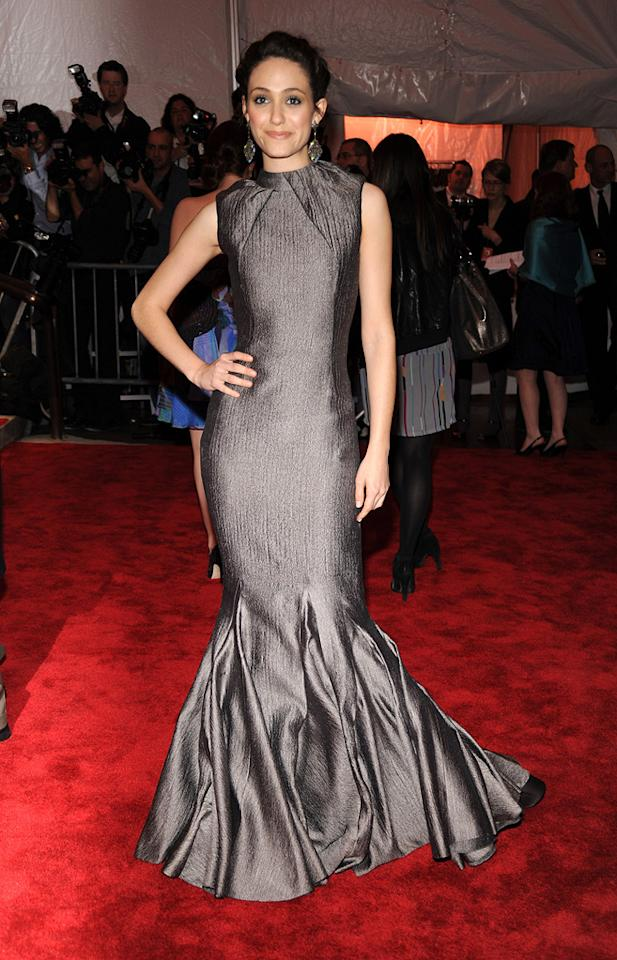 "Emmy Rossum's stunning sleeveless mermaid gown was designed by the one-and-only Carolina Herrera. Kevin Mazur/<a href=""http://www.wireimage.com"" target=""new"">WireImage.com</a> - May 1, 2009"