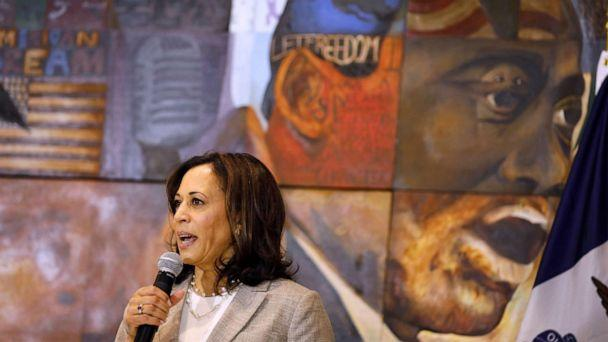 PHOTO: Democratic presidential candidate Sen. Kamala Harris, D-Calif., speaks during a Women of Color roundtable discussion, July 16, 2019, in Davenport, Iowa. (Charlie Neibergall/AP)