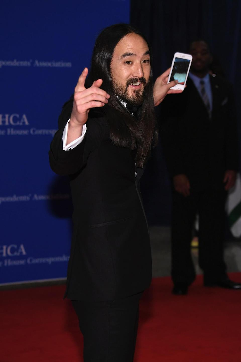 <p>DJ Steve Aoki attends the 102nd White House Correspondents' Dinner, April 30. <i>(Photo: Larry Busacca/Getty Images)</i></p>