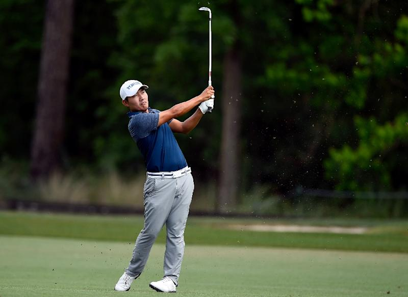 Kang Sung of South Korea plays his approach shot on the 13th hole during round three of the Shell Houston Open, in Humble, Texas, on April 1, 2017
