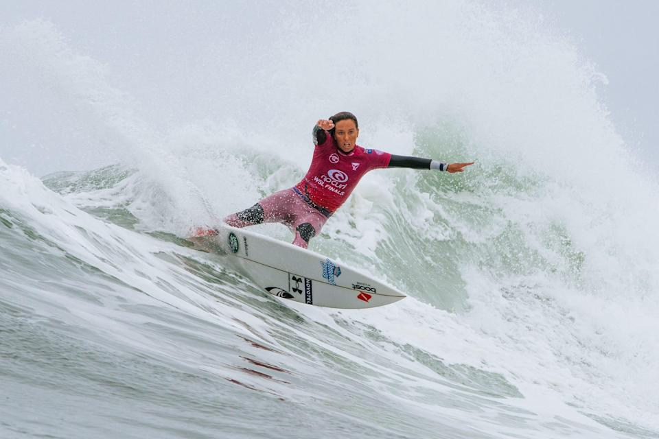 Australian Sally Fitzgibbons competes in the Rip Curl WSL Finals in San Clemente, California.