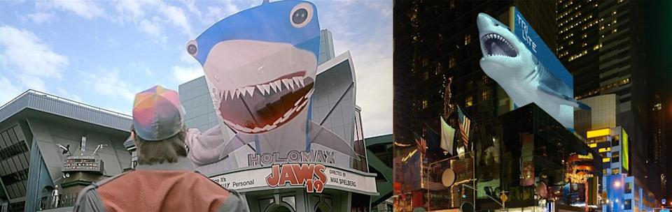"""<p>In the movie, Marty comes across a futuristic movie marquee advertising the latest installment of a long-running film franchise — Jaws 19 (directed by """"Max Spielberg""""). The billboard comes to life, swooping down on Marty in the form of a giant shark hologram. </p><p>Once again, we find reality fast encroaching on fictional territory. The Austrian company TriLite Technologies is working on a line of """"autostereoscopic"""" video billboards that the company says will enable <a href=""""http://www.trilite-tech.com/outdoor-3d-screens/"""" rel=""""nofollow noopener"""" target=""""_blank"""" data-ylk=""""slk:outdoor 3D displays"""" class=""""link rapid-noclick-resp"""">outdoor 3D displays</a> with no 3D glasses required. The technology has yet to be demonstrated, however — the image here is an artist's conception.</p>"""