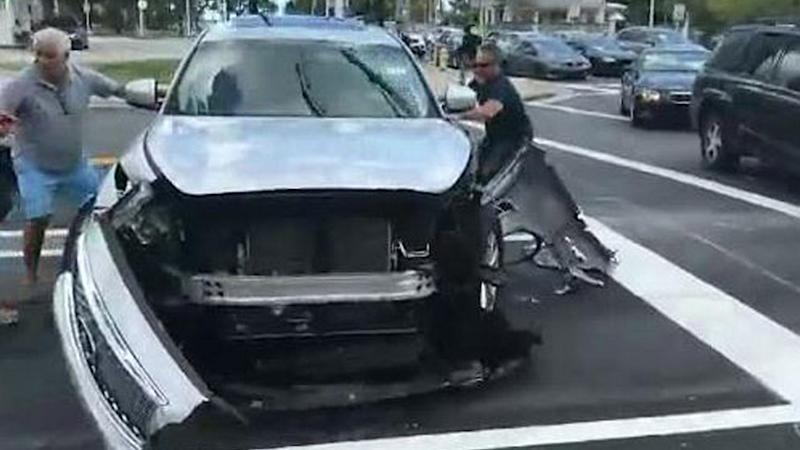 Dramatic Video from Miami Shows Alleged Hit-and-Run Driver Attacked by Onlookers