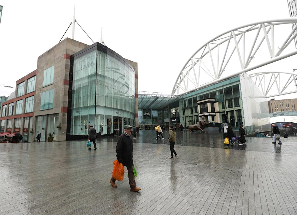 BIRMINGHAM, - MARCH 19:  A sparse number of shoppers in the Bull Ring on March 19, 2020 in Birmingham, United Kingdom. (Photo by David Rogers/Getty Images)