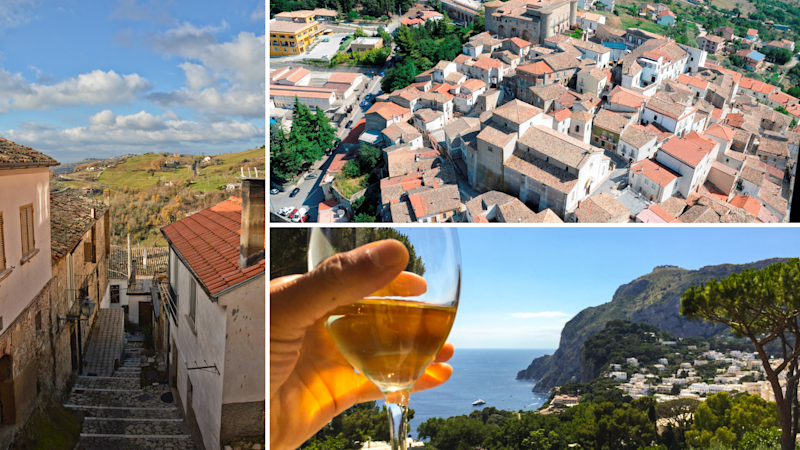 Pictured: Aerial shots of Italian town Zungoli, and a person holding a glass of wine in Campania. Images: Getty